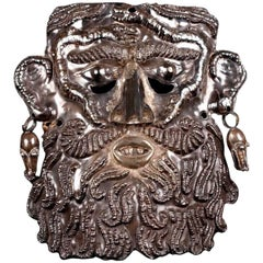 Very Rare Guerrero Silver Dance Mask, 19th-20th Century, Mexico