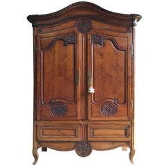 French Country Normandy Pine Armoire, circa 1800