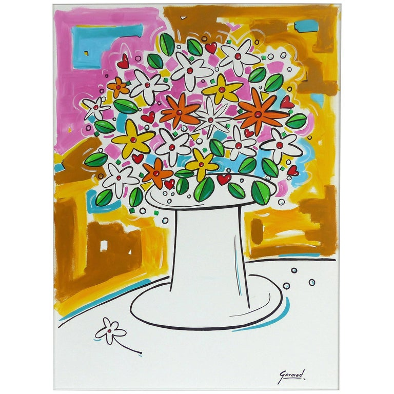 """Acrylic on Canvas of a Floral Still Life Titled """"Love"""" by Garmed"""