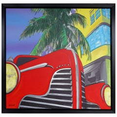 """Mixed-Media on Canvas Titled """"the Red Car"""" by Garmed Dated 2016"""