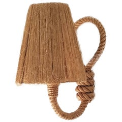 Single Rope Sconce with Original Raffia Shade by Audoux Minet, France, 1960s