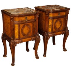Pair of Italian Bedside Tables in Wood with Marble Top from 20th Century