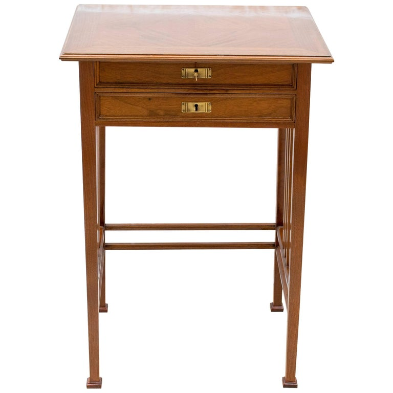 Art Nouveau Walnut Sewing or Side Table