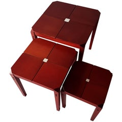 Red Mahogany Wood Italian Nesting Tables with White Crystal Inlay, 1985