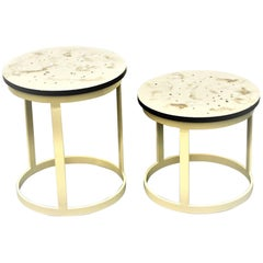 "Pair of Contemporary Resin Side Tables ""Coffee Universe"" with Beige Steel Base"