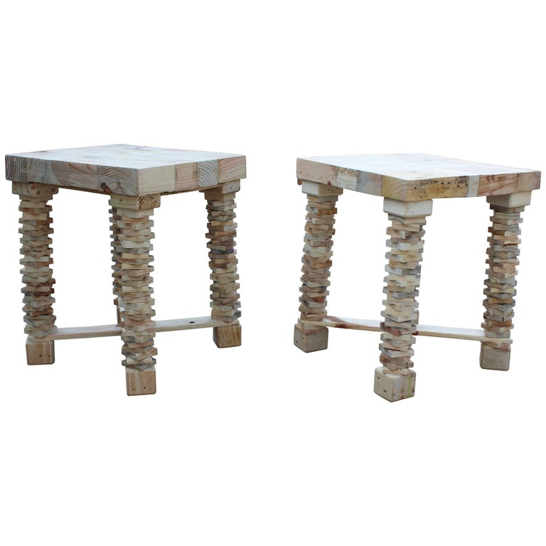 Pair of Contemporary Spanish Handcrafted Wooden Side Tables