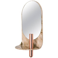 Stone Wall Mirror with Copper Vase and Shelf
