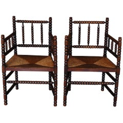 Pair of Early 20th Century Turned Dutch Bobbin Armchairs