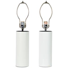 Pair of 1970s White Enameled Cylinder Lamps by Robert Sonneman for Kovacs