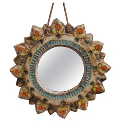 Ceramic Sunburst Mirror by La Roue, circa 1950s