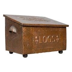 Antique Log Box, English Art Nouveau, Fireside Scuttle, Copper, circa 1920