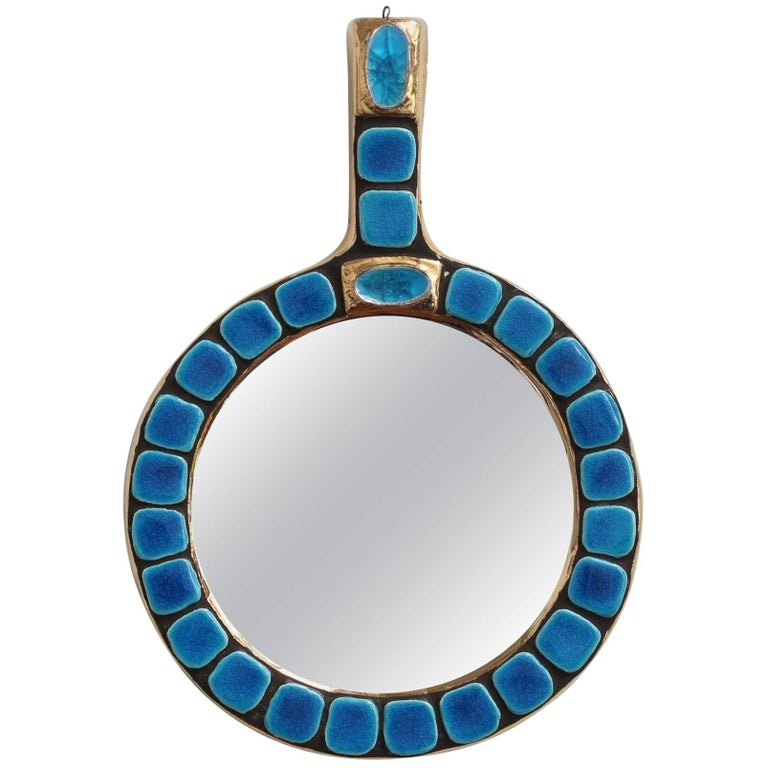 Ceramic Tiled Hand Mirror by François Lembo, circa 1970s