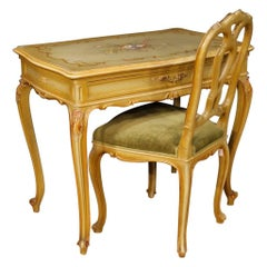 Venetian Writing Table and Chair in Lacquered and Painted Wood from 20th Century
