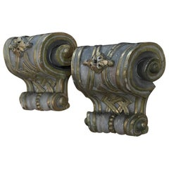 Pair of 18th Century Italian Baroque Carved and Painted Corbels