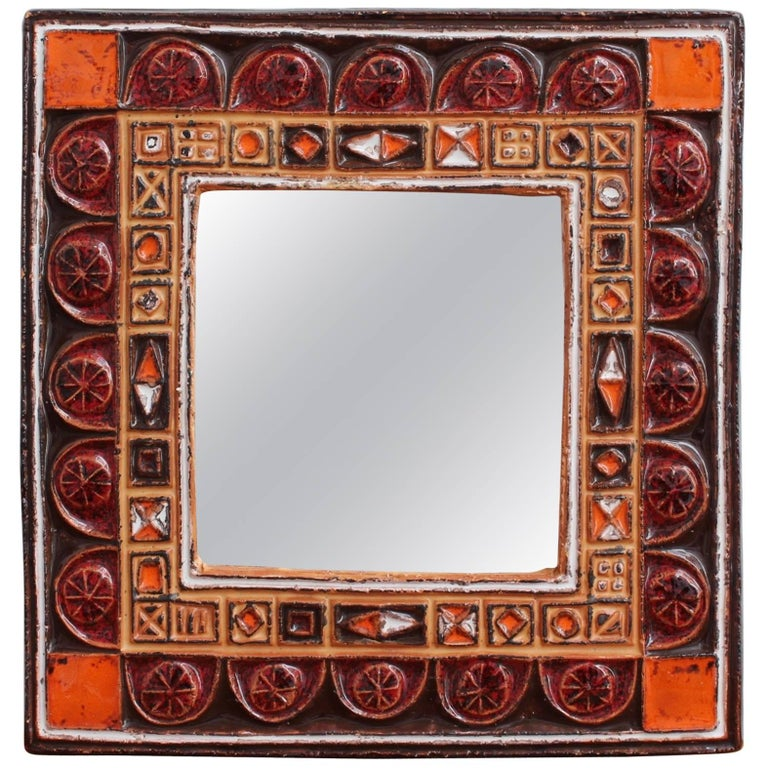 Midcentury French Ceramic Decorative Mirror, circa 1960s-1970s