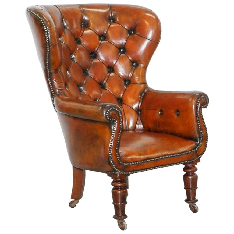 Regency Chesterfield Brown Leather Porters Armchair in the Manor of Gillows