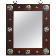 Wooden Mirror with Enamel Copper Decoration by Capo Esmaltes, circa 1960s
