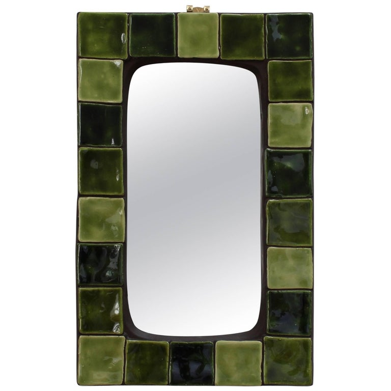 Green Ceramic Tiled French Wall Mirror (Circa 1970s)