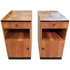 Art Deco Original Pair of Bedside Cabinets in Figured Walnut Veneers