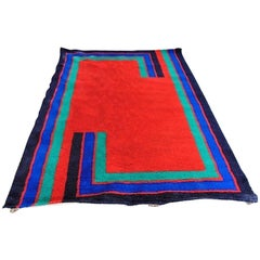 Hojer Eksport Wilton Pure Wool Carpet Geometric Red Blue Turquoise, 1975