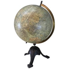 Antique French Paper Mache' World Globe on Painted Cast Iron Stand
