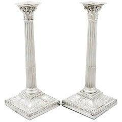 Antique Sterling Silver Corinthian Column Candlesticks, 1771