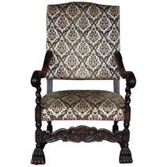 19th Century French Dark Stain Beechwood Throne Chair