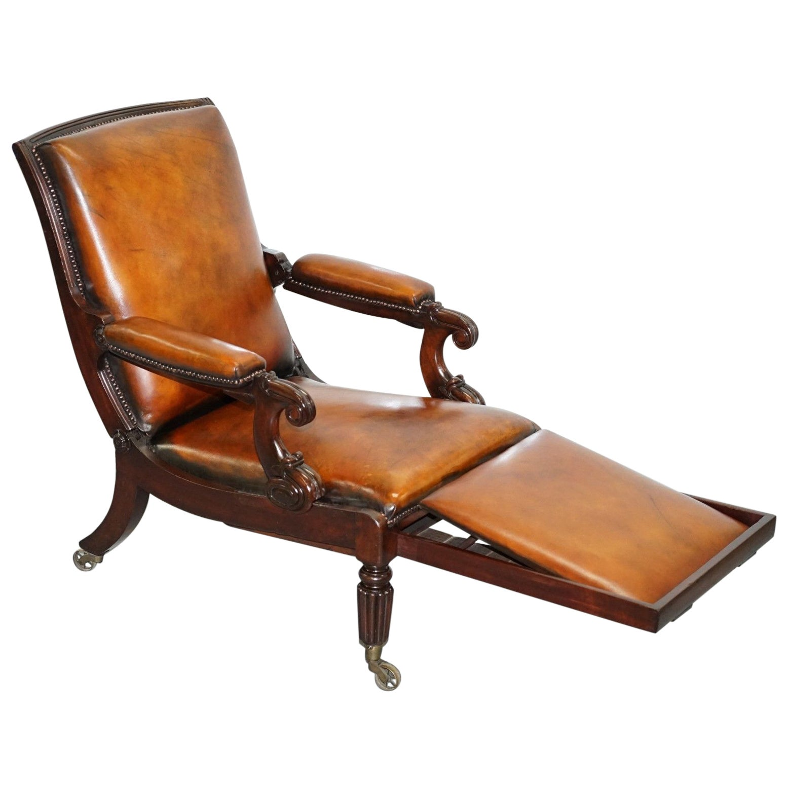 Restored William IV Reclining Library Reading Brown Leather Armchair Footstool