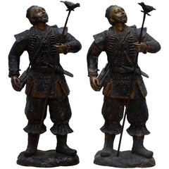 Pair of Meiji Style Japanese Hayabusa Bronze Samurai Warrior Statues