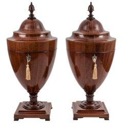 Pair of Victorian Mahogany Cutlery Urns, 19th Century