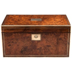 Antique Walnut Writing Box with Secret Document Drawer