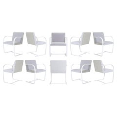 Brno Flat-Bar Chairs in Dove Velvet, Lunar Gloss Frame, Set of Ten