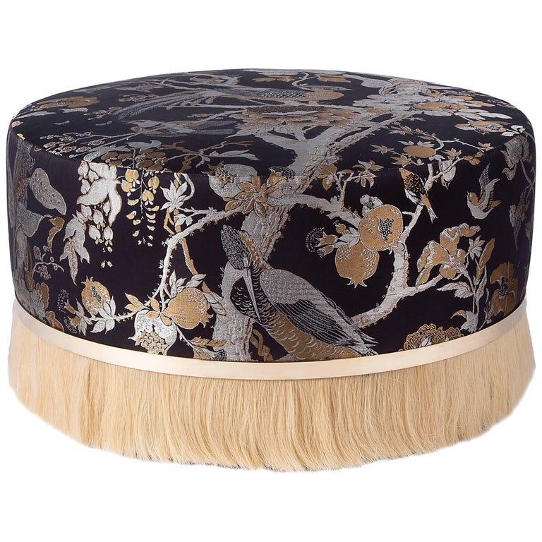 Thing Ottoman Poof with Brass, Horse Hair, Jacquard or COM