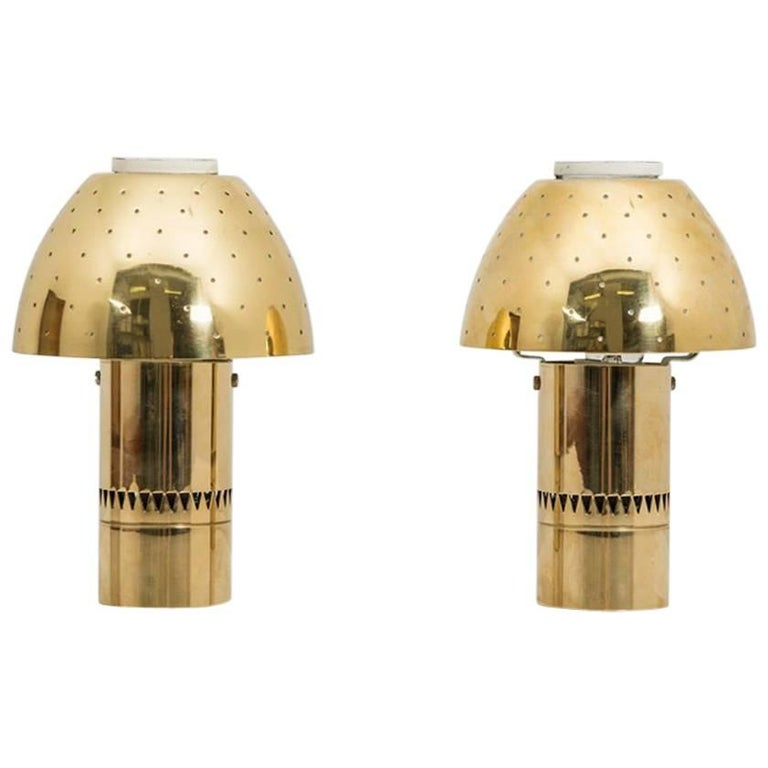 Swedish Table Lamps in Perforated Brass by Hans-Agne Jakobsson