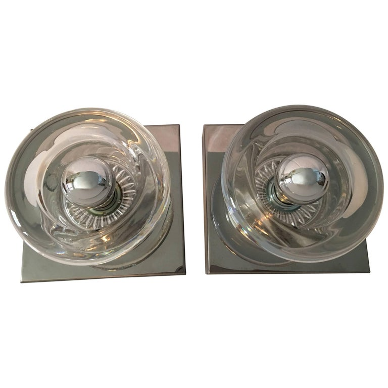 One Pair of Chrome Round Glass Sconces For Sale