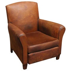 1990s Single French Leather Club Chair with a Studded Back and Wooden Feet