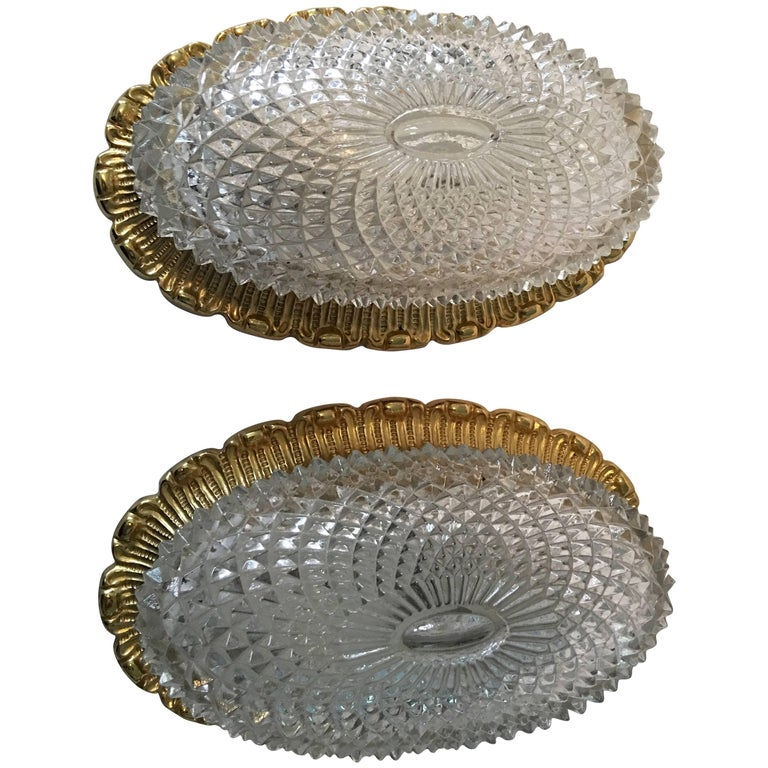 One Great Pair of Textured Glass and Surrounded Gilded Brass Limburg Sconces For Sale