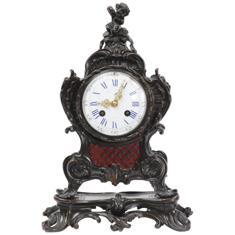 Japy Freres Rococo Bronze Table Clock, Music