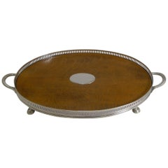 Antique English Oak and Silver Plate Tray by Roberts and Belk, circa 1890