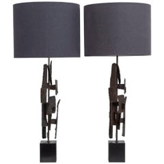 Pair of Brutal Richard Barr Designed Table Lamps, circa 1965