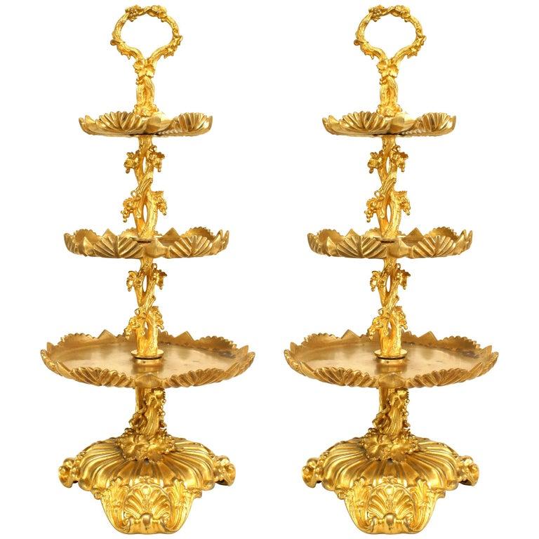 Pair of French Louis XV Style 19th Century Three-Tier Round Trays Centerpiece