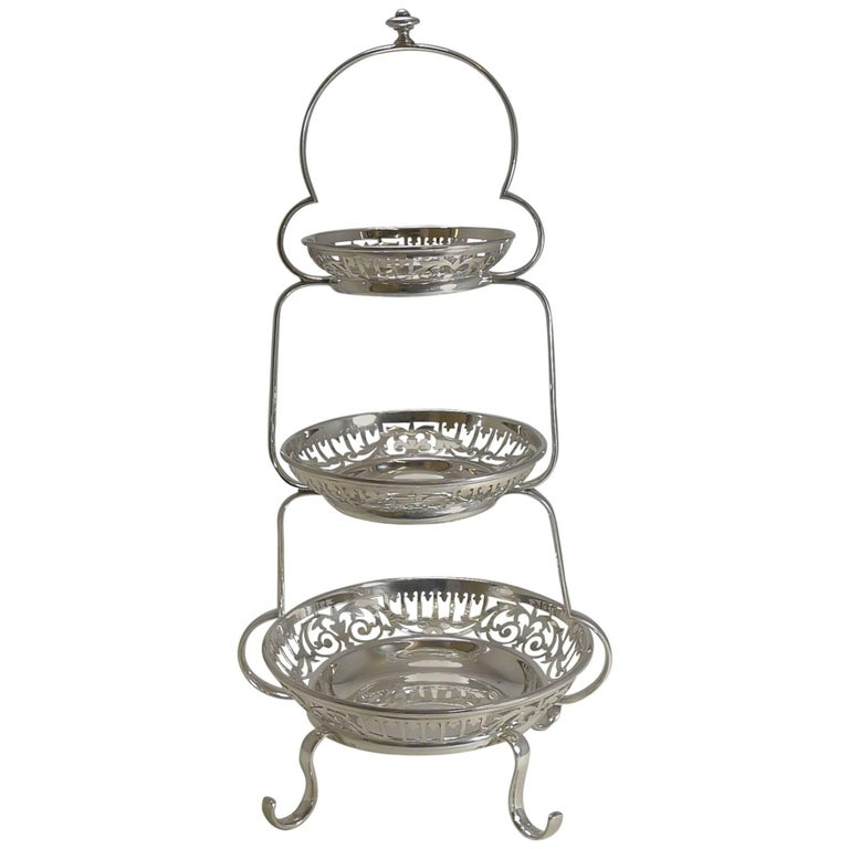 Antique English Silver Plated Graduated Cake Stand, circa 1900