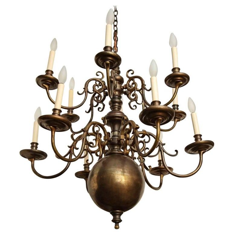 Twelve-Light Dutch Chandelier For Sale