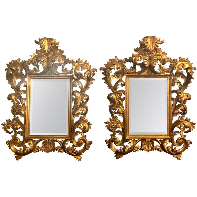 Pair of 19th-20th Century Carved Italian Florentine Wall or Table Mirrors
