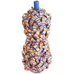 Blue Stripe Porcelain Vase Special Edition for Manfredi Style