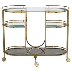 Italian Oval Three-Tiered Brass Bar Cart, 1960s