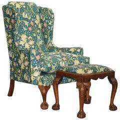 William Morris Georgian Irish Style Claw & Ball Walnut Wingback Armchair & Stool