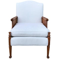 1940s French Oak Armchair with Scalamandre 'Capri Herringbone' Fabric