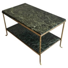 1940s Bagués Style Coffee Table with Green Marble