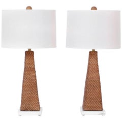Pair of Midcentury Rattan Table Lamps